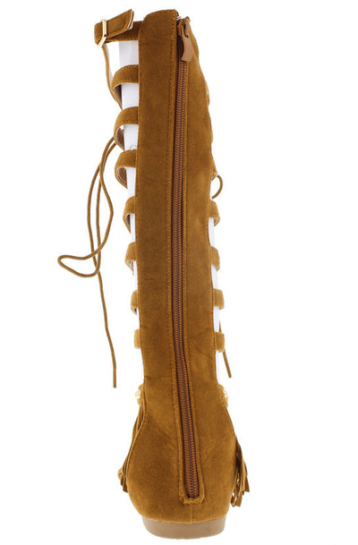 Embrace17 Tan Fringe Lace Up Gladiator Boot - Wholesale Fashion Shoes