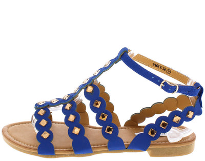 Emily34 Royal Blue T Strap Round Cut Straps Sandal - Wholesale Fashion Shoes