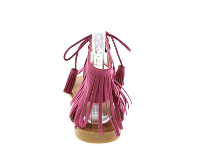 Emily5 Fuchsia Lace Up Fringe Tassel Sandal - Wholesale Fashion Shoes