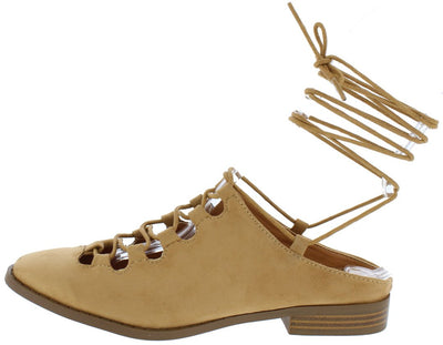 Emily Camel Almond Toe Ghillie Lace Up Ankle Wrap Flat - Wholesale Fashion Shoes