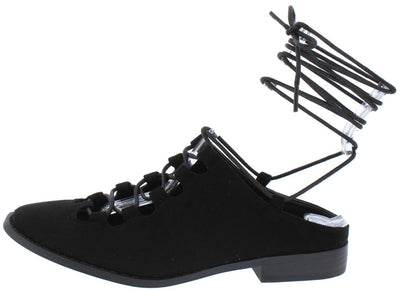 Emily Black Almond Toe Ghillie Lace Up Ankle Wrap Flat - Wholesale Fashion Shoes