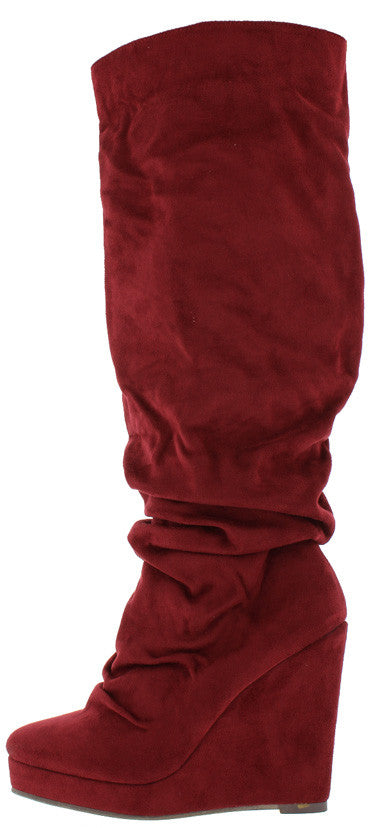 Emma1 Burgundy Slouchy Platform Wedge Knee High Boot - Wholesale Fashion Shoes
