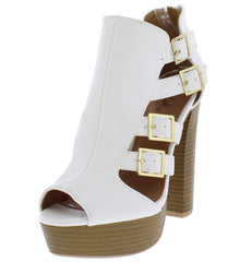 ENCLOSE85 WHITE WOMEN'S HEEL - Wholesale Fashion Shoes