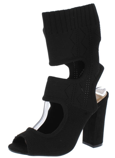 Encounter72s Black Knit Peep Toe Cut Out Extended Ankle Heel - Wholesale Fashion Shoes