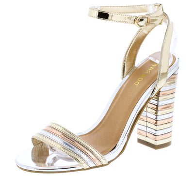 Encounter95s Gold Two Tone Metallic Open Toe Block Heel - Wholesale Fashion Shoes