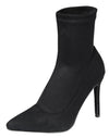 Ensure15 Black Pointed Toe Pull On Stiletto Boot - Wholesale Fashion Shoes