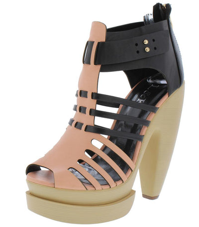 Enzo02 Pink Peep Toe Strappy Cut Out Slanted Platform Heel - Wholesale Fashion Shoes