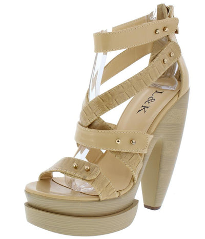 Enzo03 Beige Multi Open Toe Cross Strap Slanted Platform Heel - Wholesale Fashion Shoes