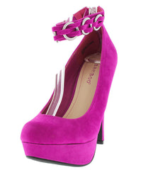 ERICKA61 MAGENTA MULTI RING ANKLE STRAP HEEL - Wholesale Fashion Shoes
