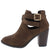 Erika26 Brown Cross Wrap Strap Stacked Ankle Boot
