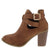 Erika26 Tan Cross Wrap Strap Stacked Ankle Boot