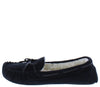 Erin01a Black Top Stitch Tie Faux Fur Loafer Flat - Wholesale Fashion Shoes