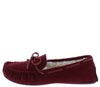 Erin01a Burgundy Top Stitch Tie Faux Fur Loafer Flat - Wholesale Fashion Shoes