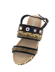 ERIN14K BLACK BEADED BRAIDED KIDS SLING BACK SANDAL - Wholesale Fashion Shoes