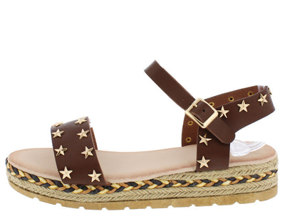 Erin2 Brown Star Studded Hemp Braid Flat Sandal - Wholesale Fashion Shoes