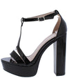 Esme16 Black Patent Pu T Strap Open Toe Platform Heel - Wholesale Fashion Shoes