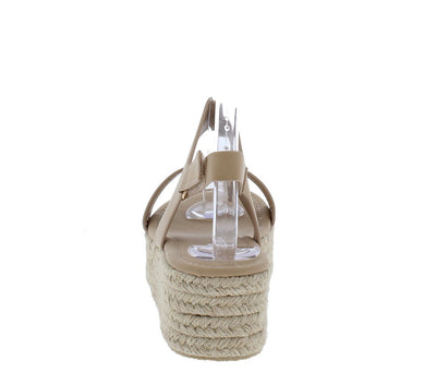 Espadrilles03 Nude Open Toe Slingback Espadrille Wedge - Wholesale Fashion Shoes