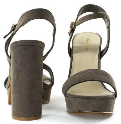Essence01s Taupe Open Toe Ankle Strap Block Platform Heel - Wholesale Fashion Shoes