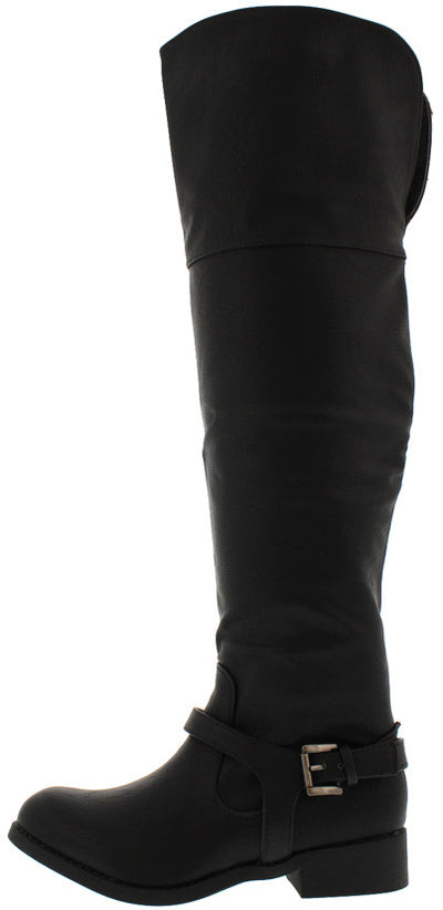 Ethan01 Black Wide Calf Knee High Riding Boot - Wholesale Fashion Shoes