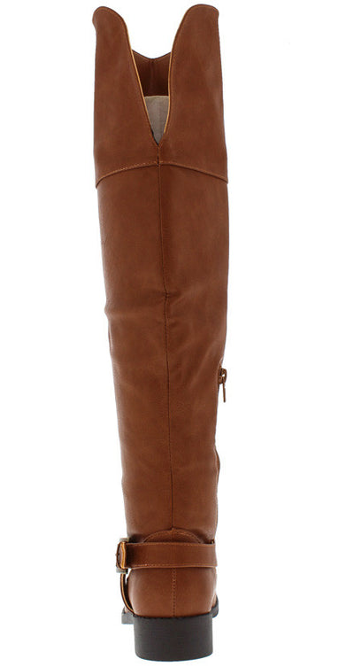 Ethan01 Cognac Wide Calf Knee High Riding Boot - Wholesale Fashion Shoes