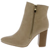 Eliza071 Nude Side Zip Block Heel Ankle Boot - Wholesale Fashion Shoes
