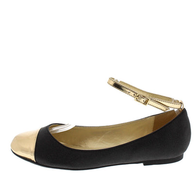 Eva Black Gold Toe Ankle Strap Ballet Flat - Wholesale Fashion Shoes