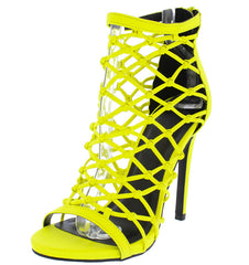 EVELYN95 NEON YELLOW PU LASER CUT MULTI STRAP STILETTO HEEL - Wholesale Fashion Shoes