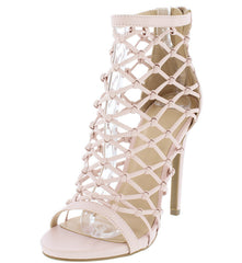 EVELYN95 NUDE PU LASER CUT MULTI STRAP STILETTO HEEL - Wholesale Fashion Shoes