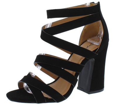 Everly36 Black Nubuck Multi Cross Strap Open Toe Chunky Heel - Wholesale Fashion Shoes