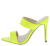 Exception01s Neon Yellow Pointed Open Toe Dual Strap Heel - Wholesale Fashion Shoes