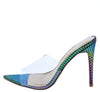 Exception02s Multi Snake Lucite Peep Toe Mule Stiletto Heel - Wholesale Fashion Shoes