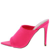 Exception25 Neon Pink Pointed Peep Toe Stiletto Mule Heel - Wholesale Fashion Shoes