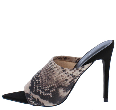 Exception25 Snake Pointed Peep Toe Stiletto Mule Heel - Wholesale Fashion Shoes