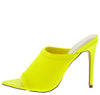 Exception25 Neon Yellow Pointed Peep Toe Stiletto Mule Heel - Wholesale Fashion Shoes