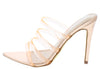 Exception52 Rose Gold Pointed Open Toe Mule Heel - Wholesale Fashion Shoes