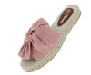 Expo04 Pink Knotted Peep Toe Espadrille Mule Flat - Wholesale Fashion Shoes