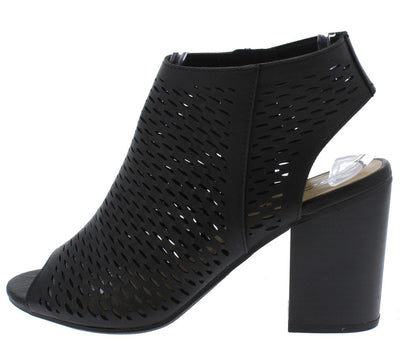 Extras Black Cut Out Peep Toe Perforated Tall Chunky Heel - Wholesale Fashion Shoes