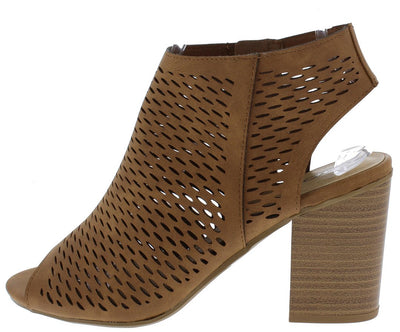 Extras Light Tan Cut Out Peep Toe Perforated Tall Chunky Heel - Wholesale Fashion Shoes
