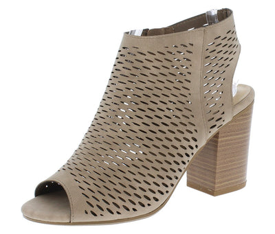 Extras Light Taupe Cut Out Peep Toe Perforated Tall Chunky Heel - Wholesale Fashion Shoes