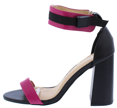 Bianeth262 Black Fuchsia Open Toe Ankle Clip Block Heel - Wholesale Fashion Shoes