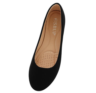 Savannah170 Black Nubuck Round Toe Ballet Flat - Wholesale Fashion Shoes