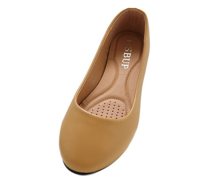 Savannah170 Camel Pu Round Toe Ballet Flat - Wholesale Fashion Shoes