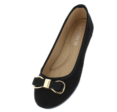 F0706 Black Suede Gold Metallic Bow Detail Ballet Flat - Wholesale Fashion Shoes