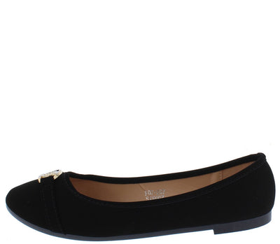 Abigail131 Black Nubuck Sparkle Hardware Ballet Flat - Wholesale Fashion Shoes
