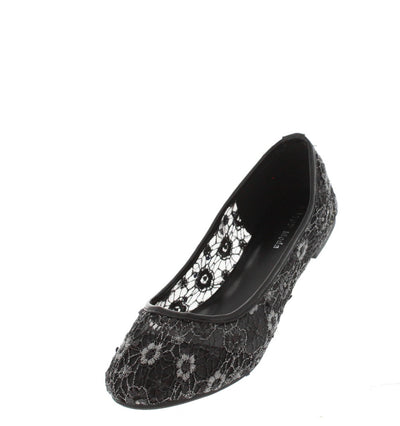 F35 Black Mesh Eyelet Lace Ballet Flat - Wholesale Fashion Shoes