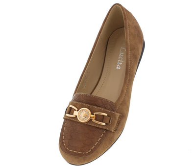 F8888 Camel Snakeskin Gold Emblem Loafer Flat - Wholesale Fashion Shoes