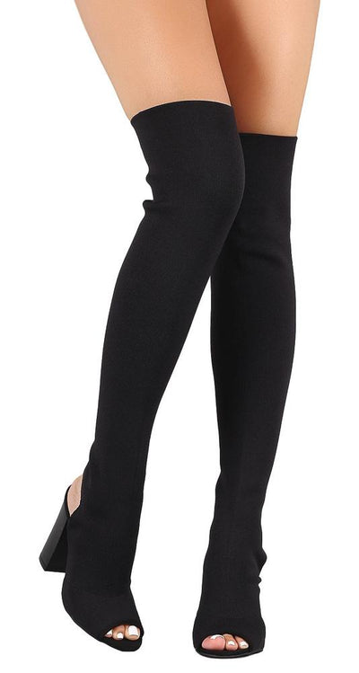 Faith28m Black Knit Fitted Cut Out Thigh High Boot - Wholesale Fashion Shoes