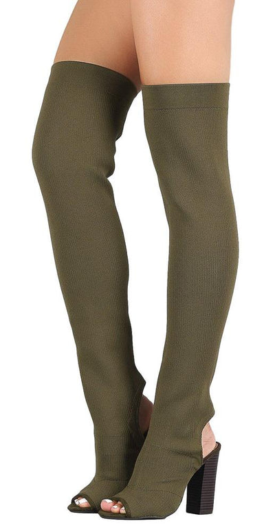 Faith28m Olive Knit Fitted Cut Out Thigh High Boot - Wholesale Fashion Shoes