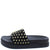 Anne211 Black Studded Open Toe Flat Slide Sandal