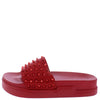 Anne211 Red Studded Open Toe Flat Slide Sandal